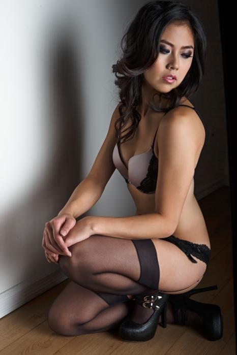 boudoir crouching in heels