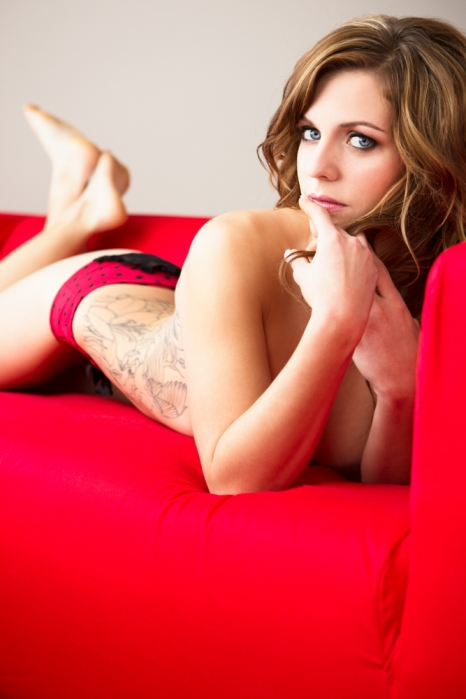 edmonton woman on couch, boudoir photograph